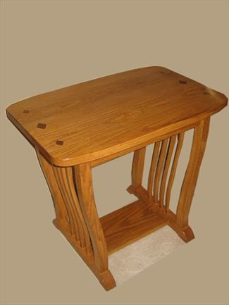 Mission End Table Amish Oval truncated Oak or Cherry Table