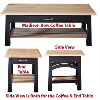 Madison Bow Coffee Table Amish Oak or Cherry Table & Hardwoods