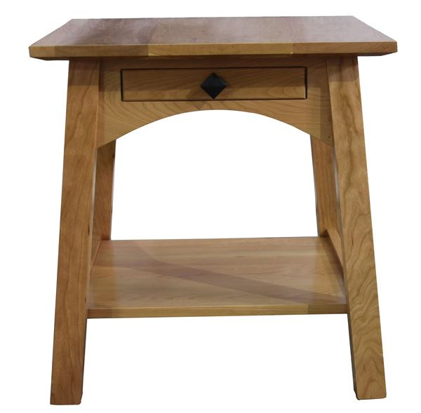 Amish McCoy Spread Leg End Table with Drawer Oak or Cherry Hardwoods