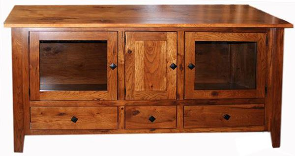 Amish Classic Contemporary Hickory TV Stand 66 inch Three Door & Three Drawers
