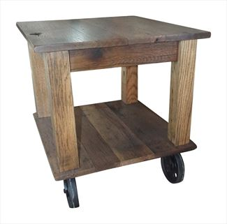 Amish Rugged Square Top Barn Wood Oak End Table Rolling Cart Heavy Duty and Sturdy