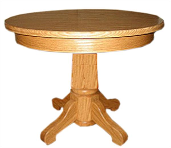 Amish PEDESTAL OAK Round End Table Handcrafted with Spread Legs