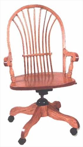 Amish Chair Amish Desk Chair with arms Bow Sheaf Back