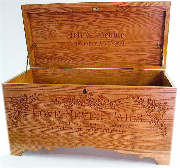 Amish Furniture Hope Chest (Optional Cedar) Love Never Fails Optional Personalized