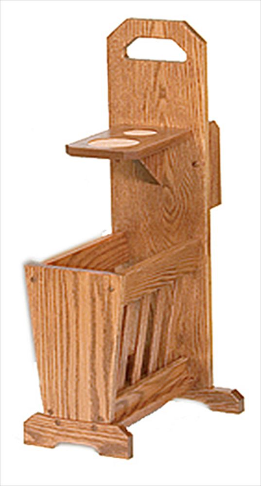 Amish Oak Mission Couch Potato Drink and Magazine Rack Sofa Mate