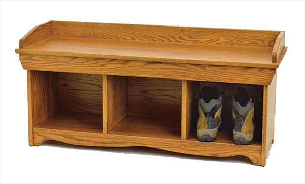 Amish Four Foot Shoe Bench Oak Hardwood