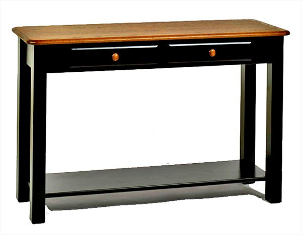 Amish Two Tone Sofa Table with Two Drawers Oak Hardwood