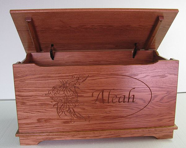 Amish Chest Amish Toy Chest Oak Chest Deluxe Two Safety Hinges Personalized CC118