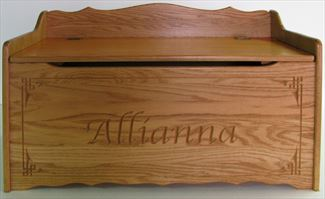 Amish Wooden Toy Box Chest-oak-Safety Hinges