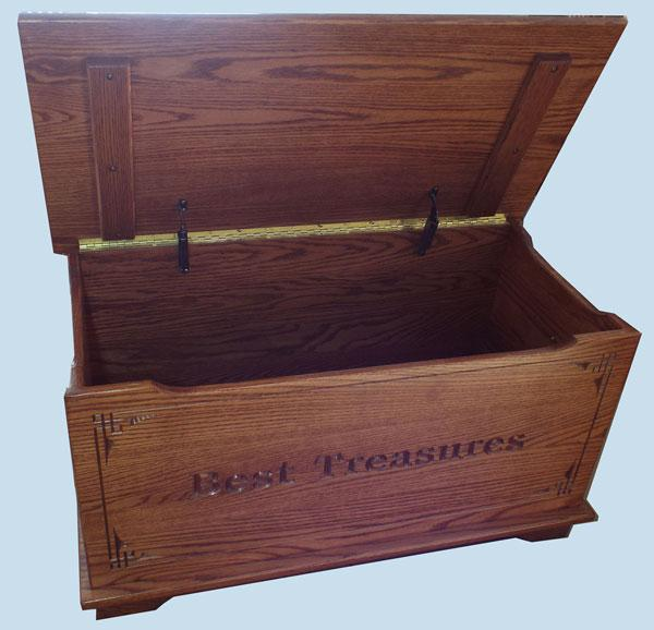 Amish Chest Child's Toys Toy Chest Oak Chest Medium Oak Deluxe Two Safety Hinges