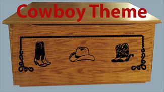 COWBOY HAT Shoes Wood Toy Box-chest-Amish TOY Chest flat top Personalized