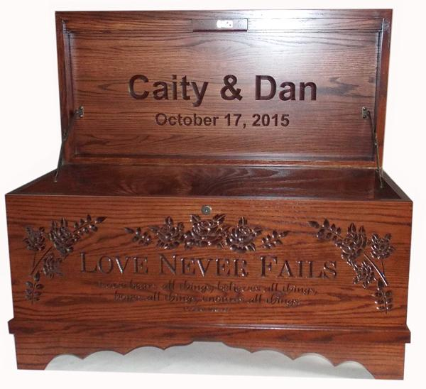 Amish Furniture Hope Chest Love Never Fails Oak Personalized