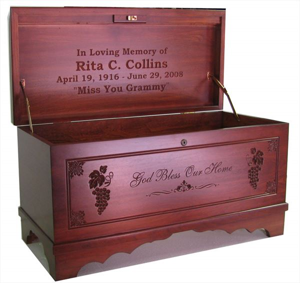 Amish Furniture Hope Chest Cherry MEDIUM God Bless Our Home Personalized