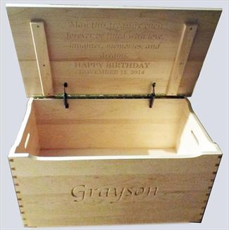Amish Hard Maple Clear Finish Furniture Shaker Large Dovetail Toy Box Chest Deluxe Two Safety Hinges Verse and Name