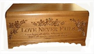 Medium Hope Chest Oak Amish, Love Never Fails, Handmade Hardwood