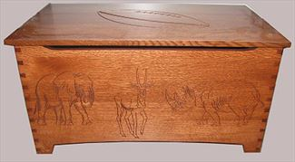 Amish Furniture Hardwood Noah Elephant Toy Box-Amish Chest Dovetail-Two Safety Hinges