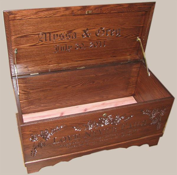 Amish Hope Chest-Carved LOVE NEVER FAILS Deluxe Blanket Chest
