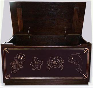 Amish Hand Made Nautical SEA CREATURES Flat Top TOY Box Chest Deluxe Carved Reverse
