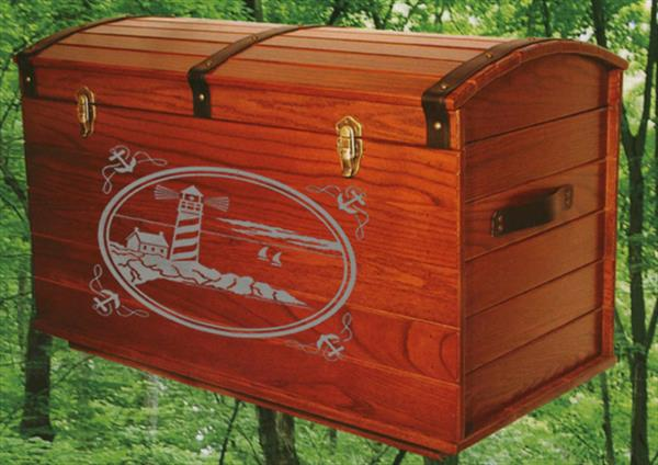 Treasure Chest Nautical Amish Round Top Blanket Box Chest Deluxe Lighthouse Carving (Simulated)