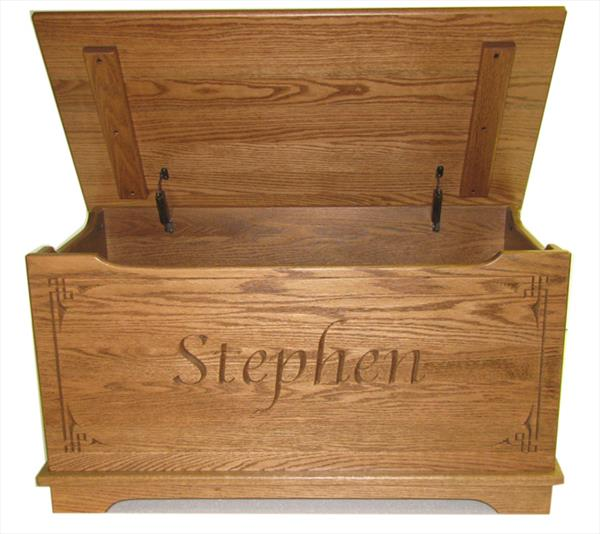 This flat top solid oak toy chest is a great item