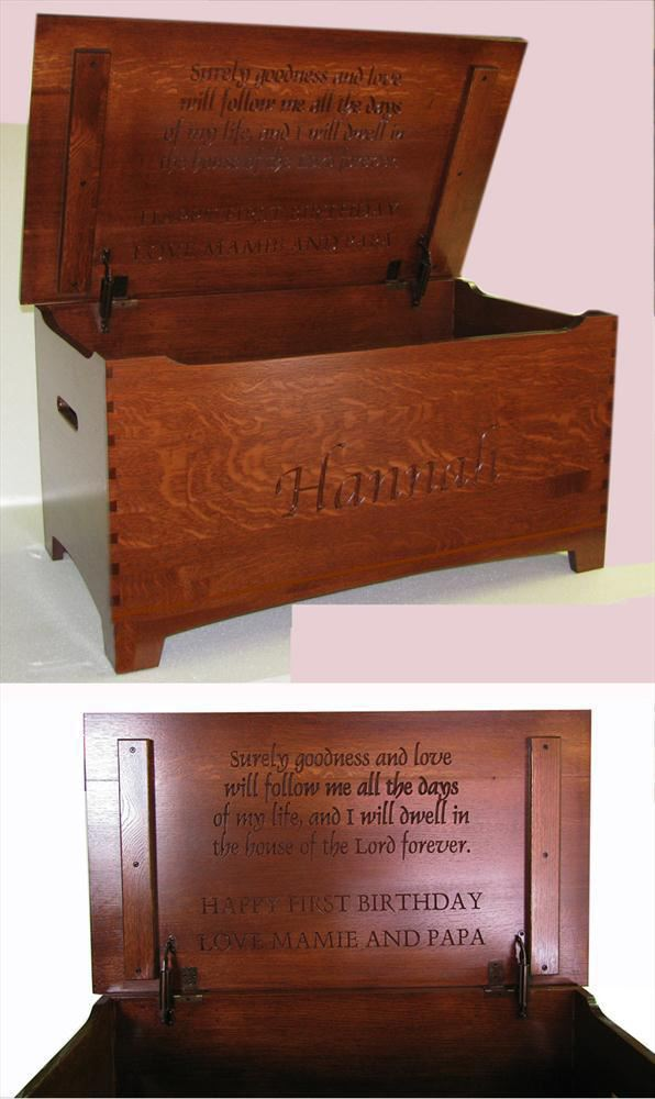 Amish Quarter Sawn or Oak Furniture Shaker Large Dovetail Toy Box Chest Deluxe Two Safety Hinges Verse and Name