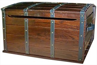 Treasure Chest Oak Toy Box- Nautical-Four Strap-round top-Safety Hinges