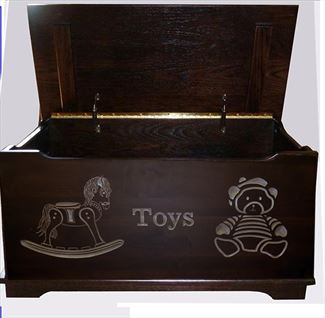 Amish Chest Child's Toys Toy Chest Oak Chest Onyx Deluxe Two Safety Hinges