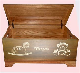 Amish Chest Rocking Horse and Teddy Bear Toy Chest Oak Chest