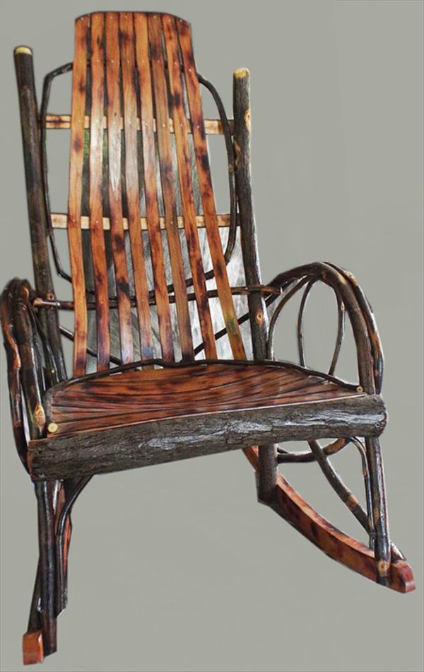 Amish furniture adults hickory rocker with burnt cherry seating - Automatic rocking chair for adults ...