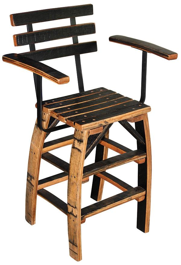 Amish Barrel QSWO Rustic furniture Arm Bar Chair All Hardwood