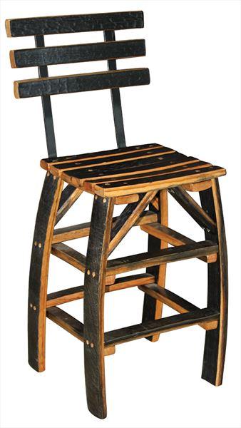 Amish Wine Barrel Cushion Recycled Quarter Sawn White Oak Bar Stool Steel Base-Hardwood