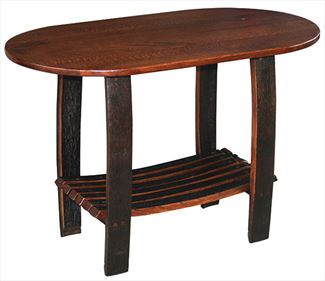 New Oval End Whiskey Barrel End Table Reclaimed and Classic
