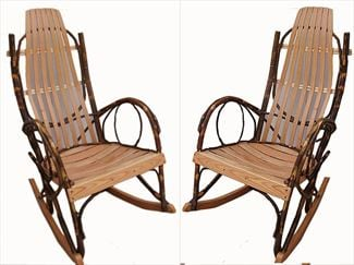 Amish Rocking Chair Hickory with Oak Hardwood Seating <br>- One pair set of two