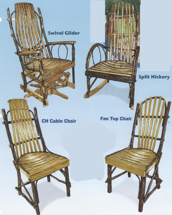 Amish Furniture Ohio Hickory Rockers, Gliders & Chairs with Hardwood Slats