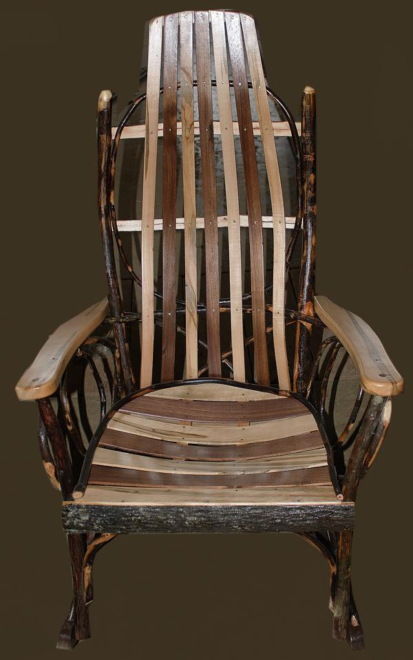 Amish Furniture Full Size Adult<br> Hickory Rocker with Oak and Walnut