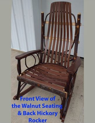 Amish Furniture Full Size Adult<br> Hickory Rocker with Hickory and Walnut