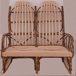 Amish Furniture Double Hickory Adirondack Back Rocker with Oak or Cherry Seating