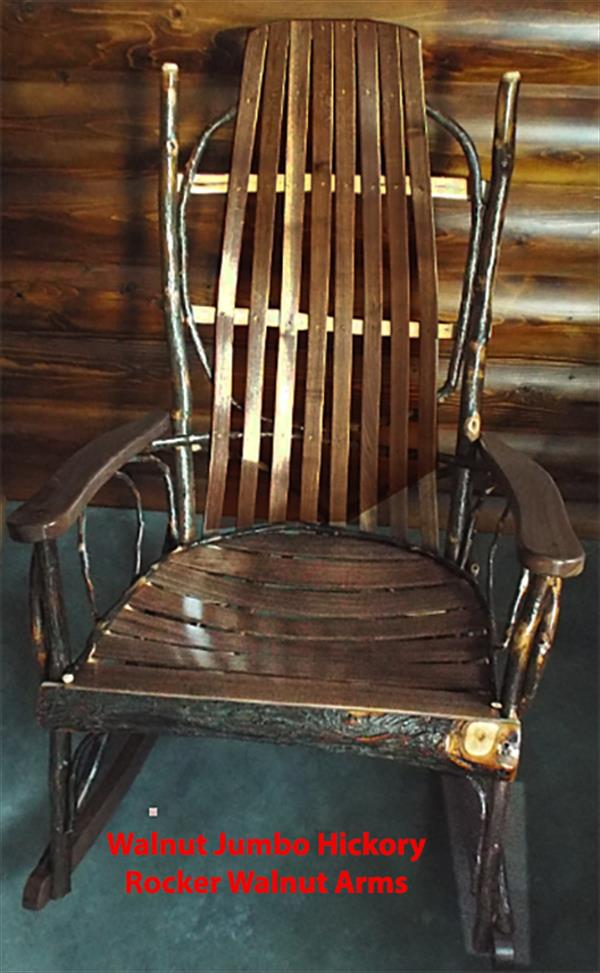 Amish Furniture Adults Jumbo Oversize Hickory Rocker with Oak and Walnut or Cherry Seating, Arms and Runners