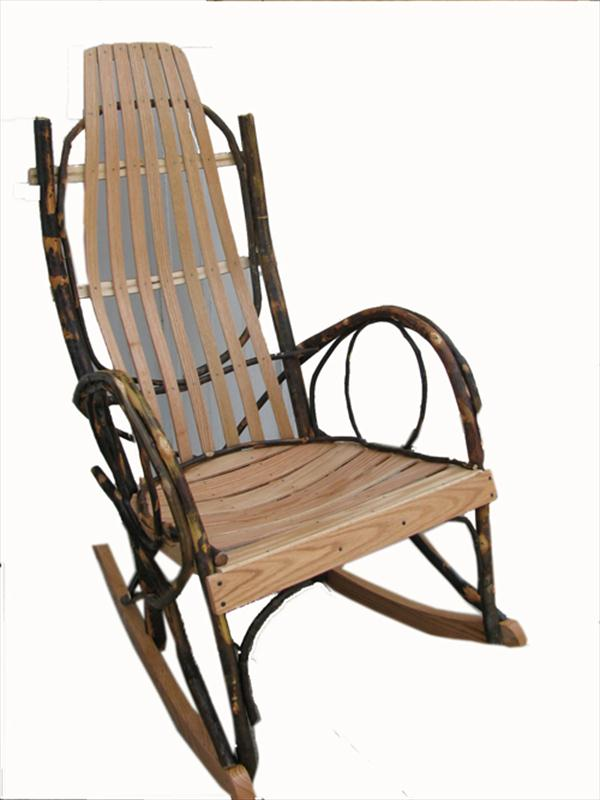 Amish furniture adults hickory rocker with oak hardwood seating - Automatic rocking chair for adults ...