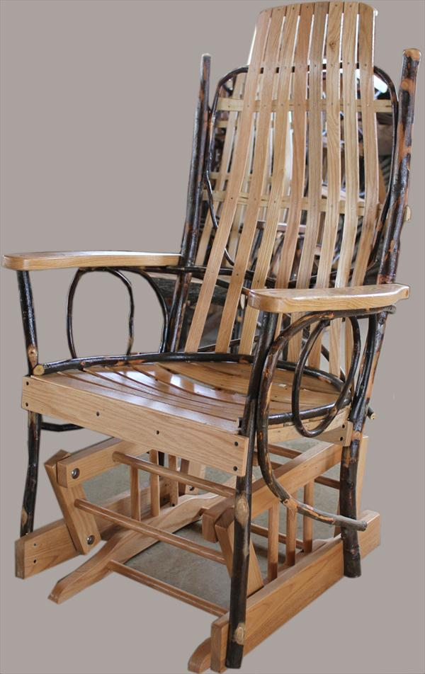 Amish Furniture Adults Hickory U003cbru003eGlider Rocker With Oak Hardwood Seating