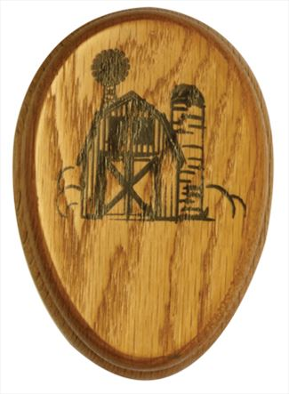 Amish Rural Country Barn Scene Oak Marble Towel Holder Solid Stained Hardwood Exclusive Design