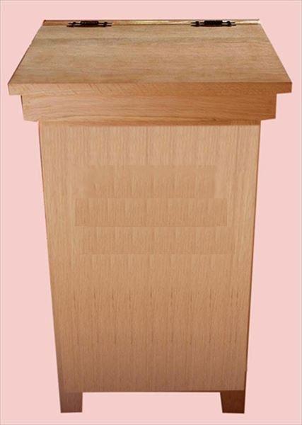 Wood Kitchen Economy Trash Can Amish Oak Hinge Top 20 gal. Trash Can Holder