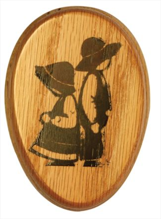 Amish Boy and Girl Scene Oak Marble Towel Holder Solid Stained Hardwood Exclusive Design