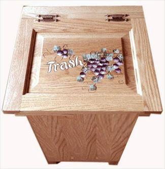 Amish Furniture Oak Lift Top Trash Raised Panel Grape Painted Container Bin Can 20 gal. Trash Can