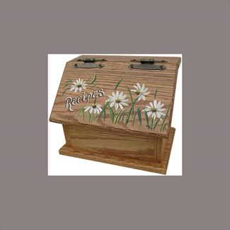 Amish Recipe Box DAISY Oak Painted Hardwood