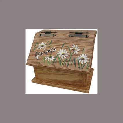 Amish Recipe Box DAISY Oak Painted Hardwood