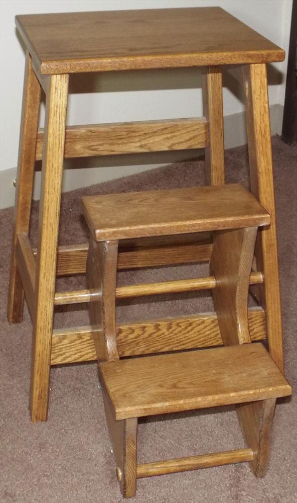 This Attractive And Useful Amish Bed Or Kitchen Step Stool