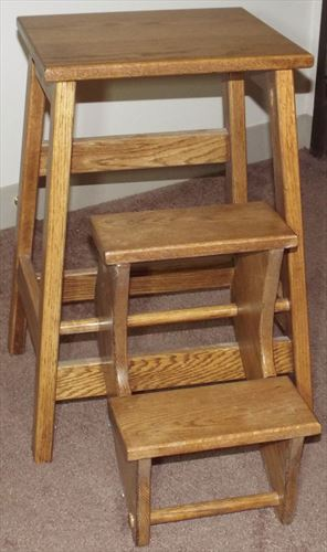 Amish Bed Step Stool Foldout Available in Oak Hardwood