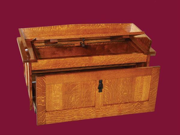 Amish Furniture Oak Toy Storage Bench Hall Seating Mission Shoe Storage Unit