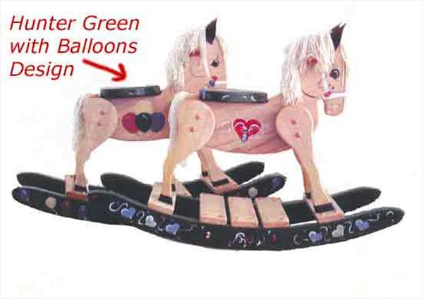 Painted Green Balloons Rocking Horse-Hand Made Amish-Green with Balloons Hand Painted